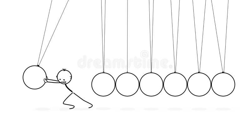 3D Wektorowy wahadło z Stickman kreskówki postacią Pushs kołyska - newton kołyska - ilustracja wektor