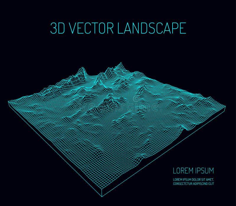 3D wektoru krajobraz kontur Abstrakcjonistyczny cyfrowy krajobraz z cząsteczek gwiazdami na horyzoncie i kropkami ilustracji