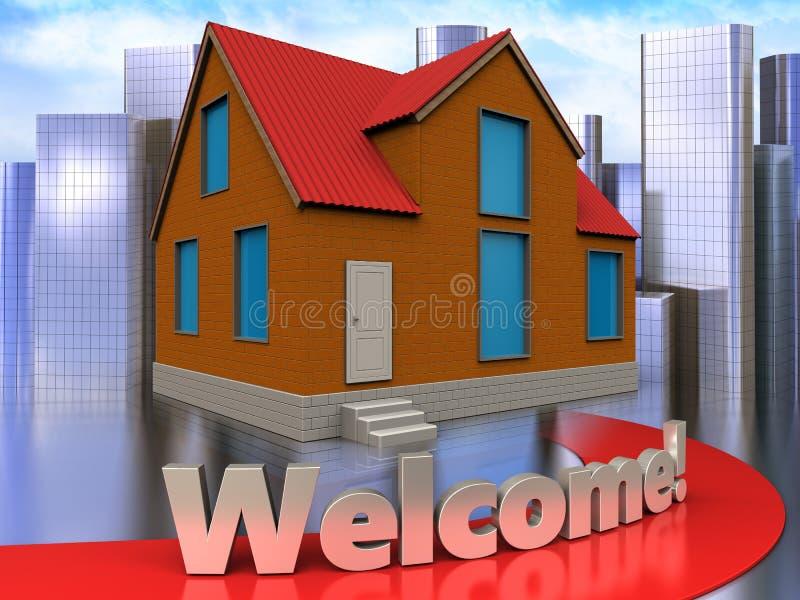 3d welcome sign over city. 3d illustration of cottage with welcome sign over city background stock illustration