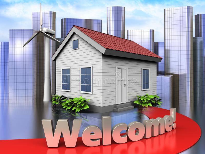 3d welcome sign over city. 3d illustration of wind energy house with welcome sign over city background royalty free illustration
