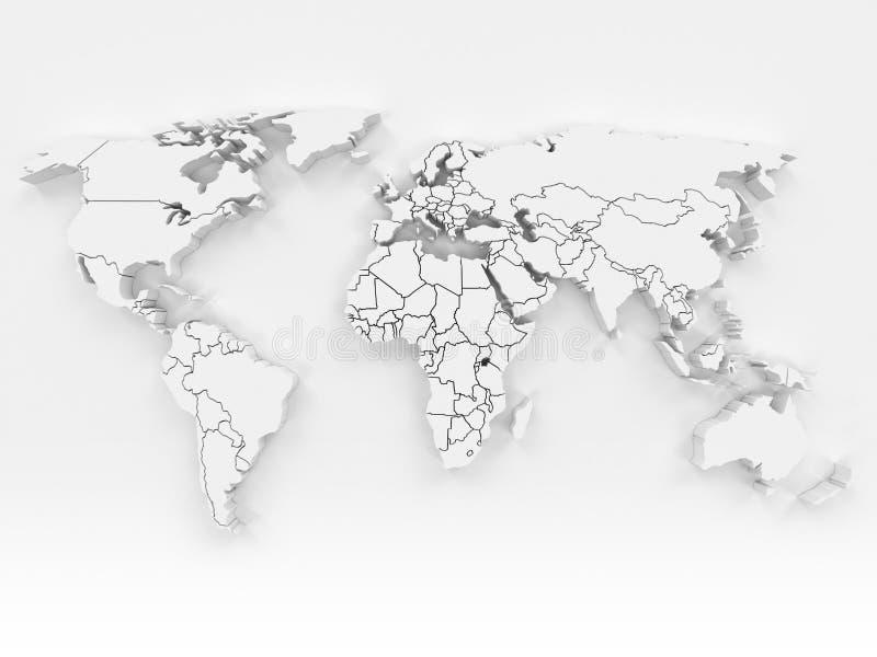 3D wereldkaart royalty-vrije illustratie