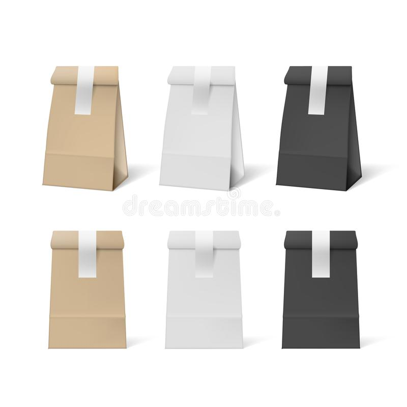 3D White, Black And Brown Paper Bag With Stickers Set. EPS10 Vector stock illustration