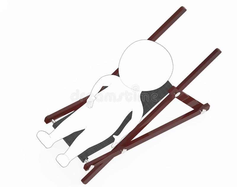 3d white - black outer lined character resting on a furniture. 3d rendering stock illustration