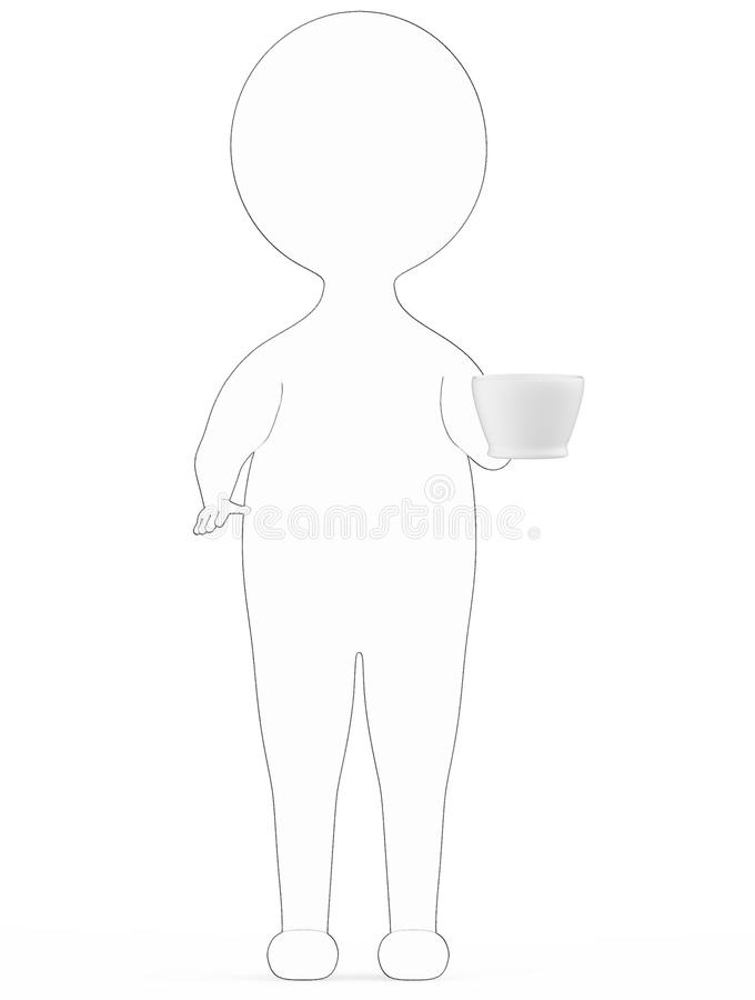 3d white - black outer lined character standing and holding a coffe -3d rendering tea cup by his hand royalty free illustration