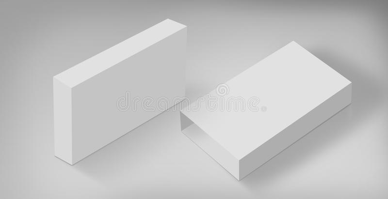 3D White Boxes on Ground Concept Series. 3D White Boxes on Ground, Mock Up Template Ready For Your Design, Clipping Path Included royalty free illustration