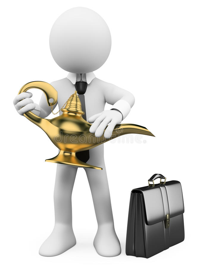 Download 3D White People. Magic Business Lamp Stock Illustration - Image: 30058231