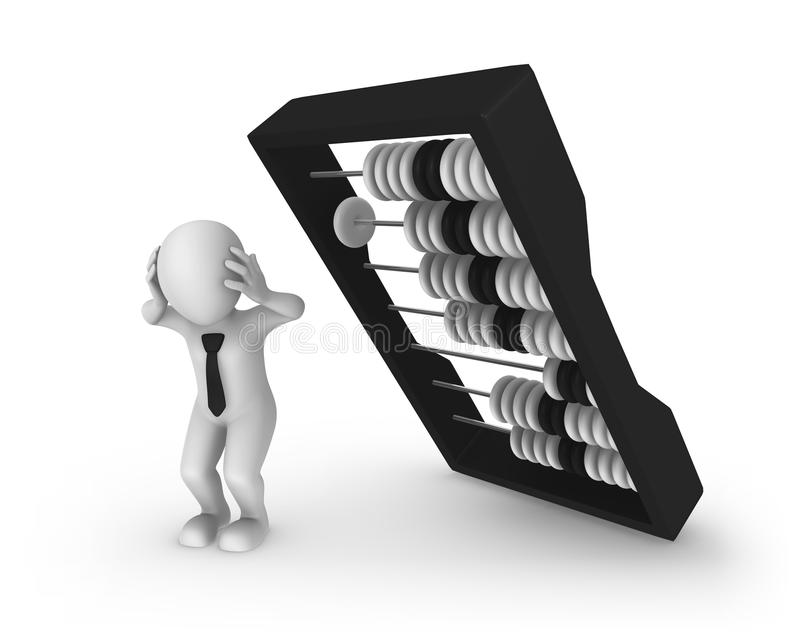 3d white businessman and big black abacus. vector illustration