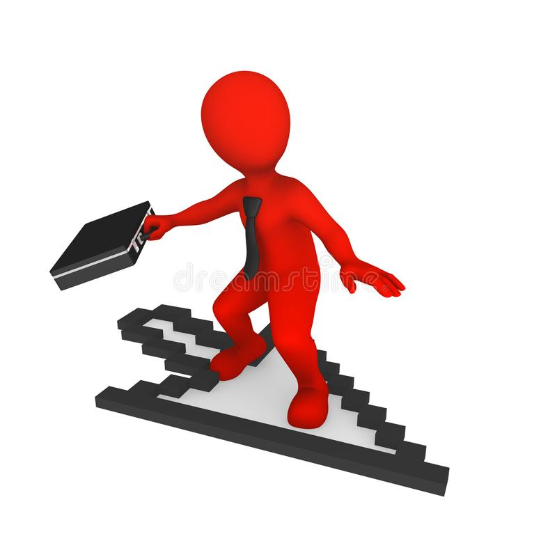 3d White Man With Mouse Cursor Stock Illustration