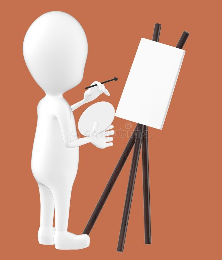 3d white character , artist , empty canvas , pallete , brush royalty free illustration