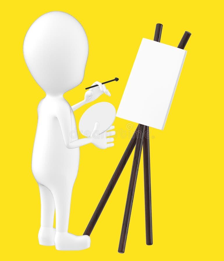 3d white character , artist , empty canvas , pallete , brush stock illustration