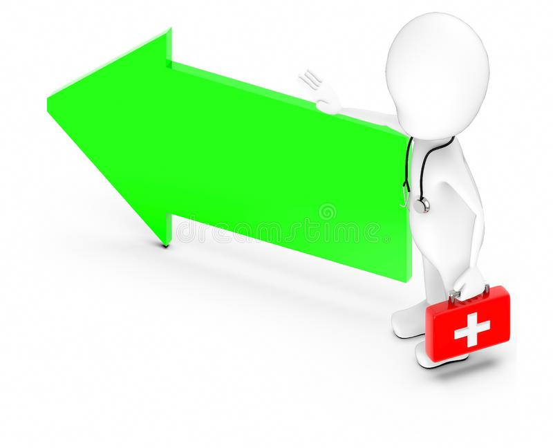 3d white character , doctor with stethoscope and holding a first aid kit -green arrow vector illustration