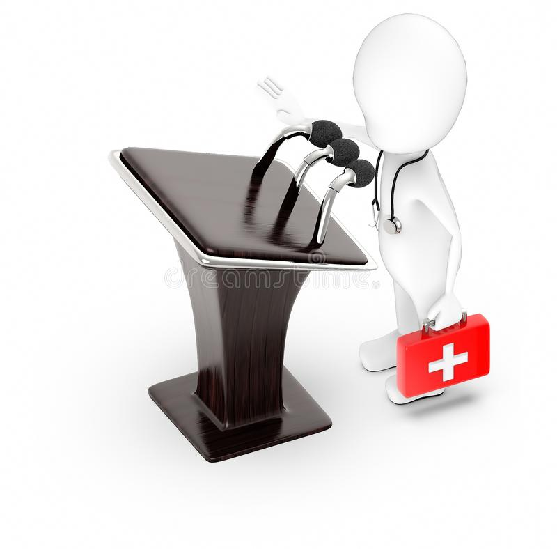 3d white character , doctor with stethoscope and holding a first aid kit -podium with three mic royalty free illustration