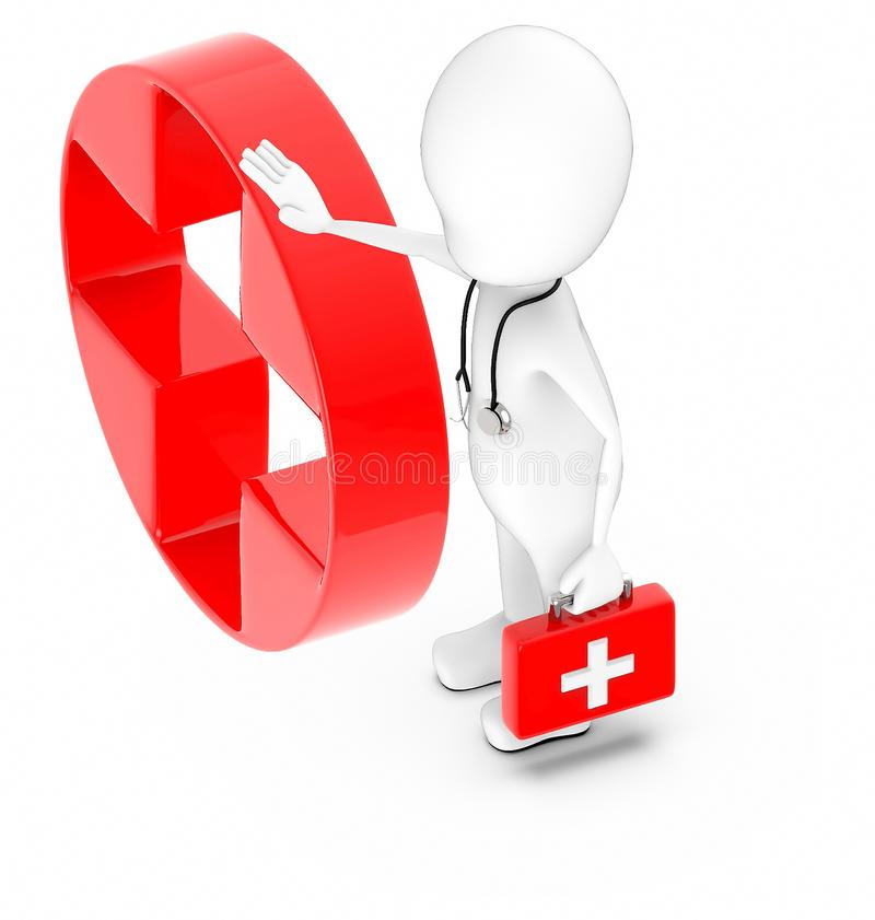 3d white character , doctor with stethoscope and holding a first aid kit -red cross , first aid sign stock illustration