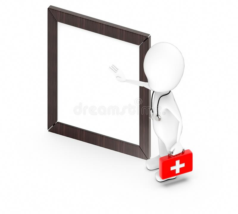 3d white character , doctor , with stethoscope and holding a first aid kit -Wooden empty frame royalty free illustration
