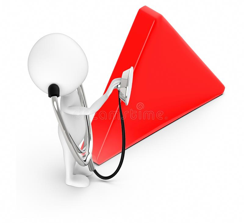 3d white character , doctor , wearing stethoscope and holding its end -empty triangular board vector illustration