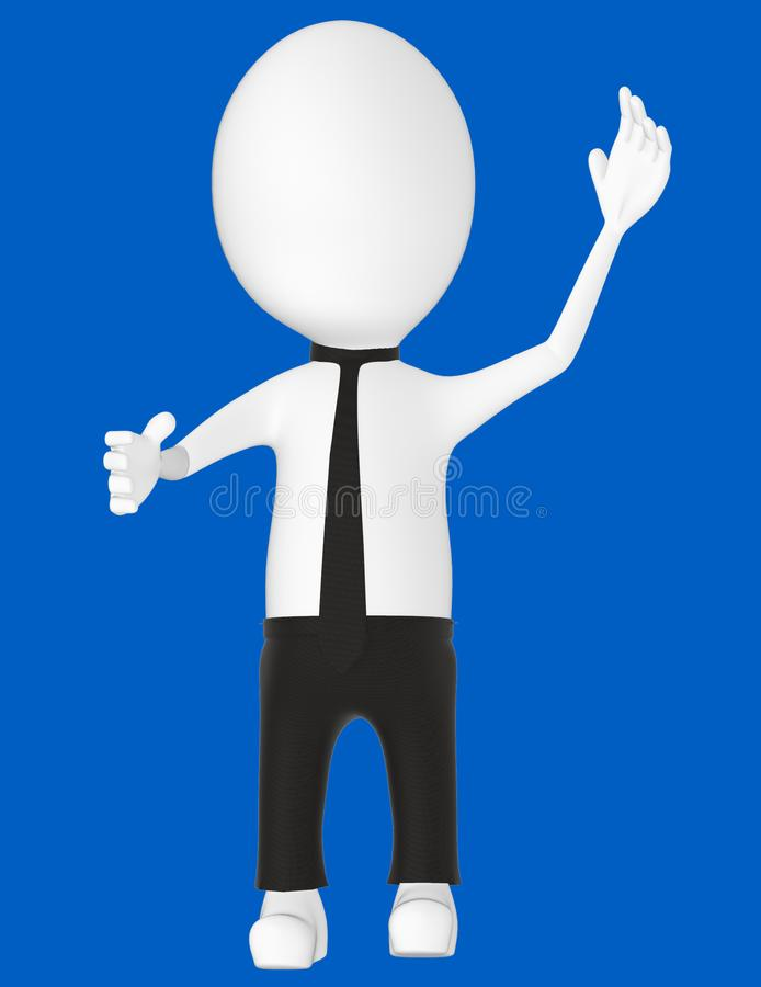 3d white character , explaining. Blue background- 3d rendering royalty free illustration