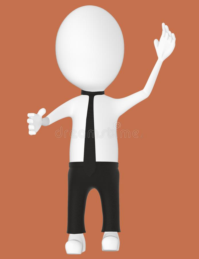 3d white character , explaining. Brown background- 3d rendering vector illustration