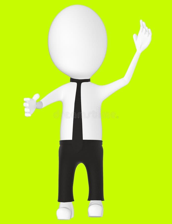 3d white character , explaining. Green background- 3d rendering royalty free illustration