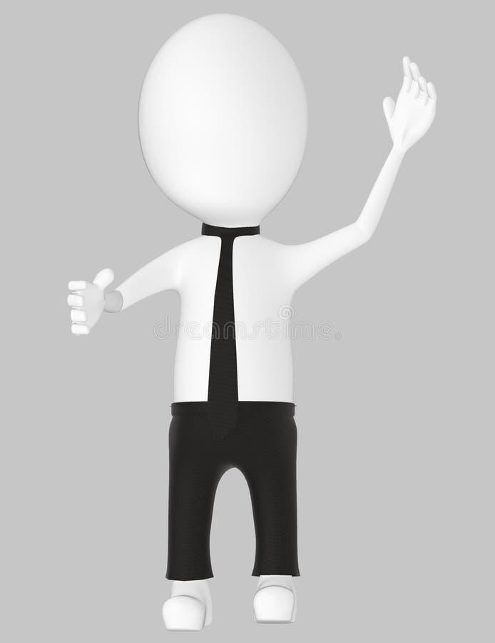 3d white character , explaining. Grey background- 3d rendering royalty free illustration