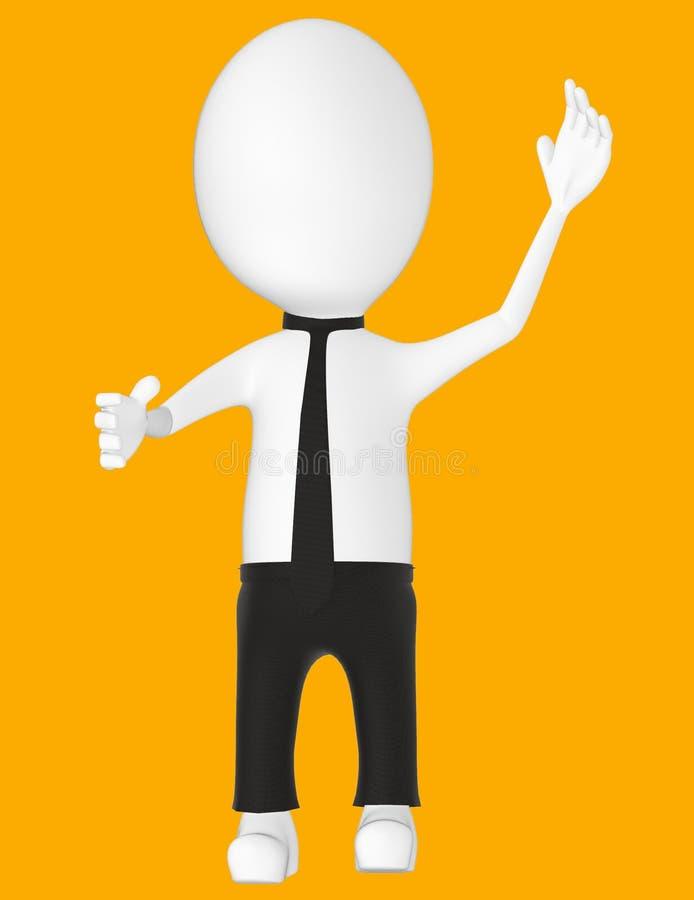 3d white character , explaining. Orange background- 3d rendering vector illustration