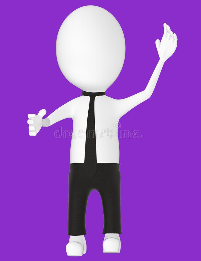3d white character , explaining. Purple background- 3d rendering vector illustration