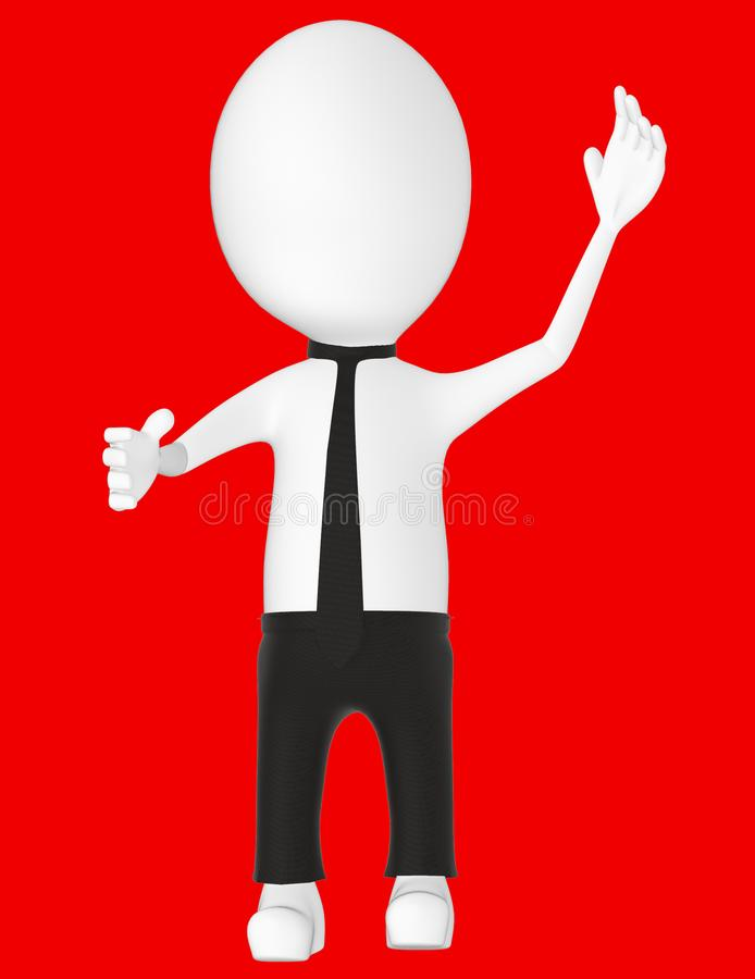 3d white character , explaining. Red background- 3d rendering royalty free illustration