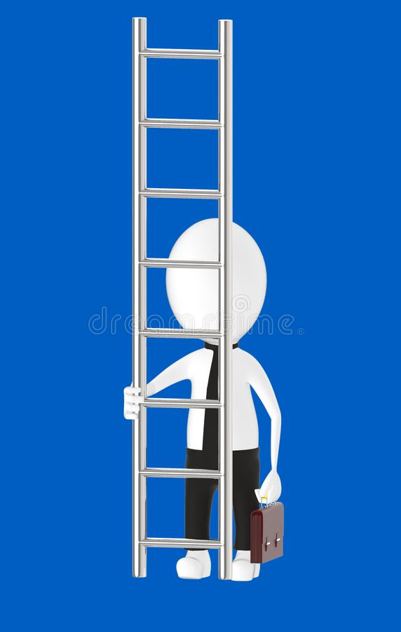 3d white character holding briefcase and standing in front of a ladder - way to climb success concept. Blue background- 3d rendering stock illustration
