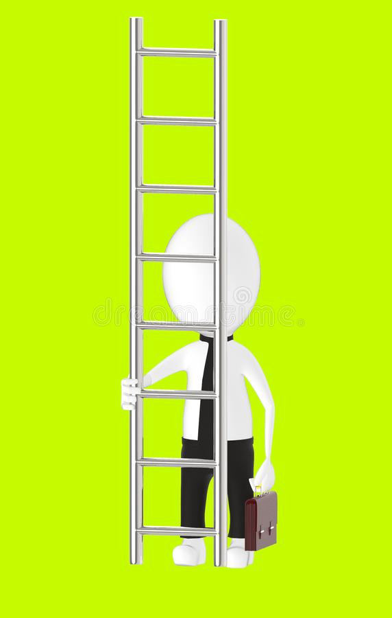 3d white character holding briefcase and standing in front of a ladder - way to climb success concept. Green background- 3d rendering royalty free illustration