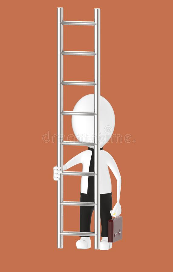 3d white character holding briefcase and standing in front of a ladder - way to climb success concept. Brown background- 3d rendering royalty free illustration