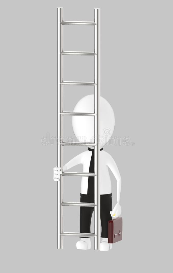 3d white character holding briefcase and standing in front of a ladder - way to climb success concept. Grey background- 3d rendering vector illustration