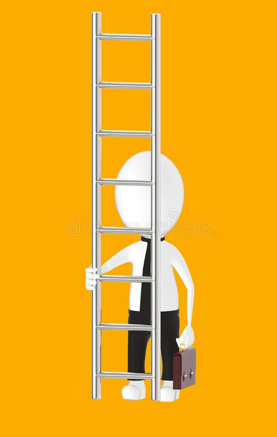 3d white character holding briefcase and standing in front of a ladder - way to climb success concept. Orange background- 3d rendering royalty free illustration