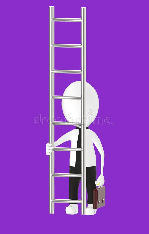 3d white character holding briefcase and standing in front of a ladder - way to climb success concept. Purple background- 3d rendering royalty free illustration