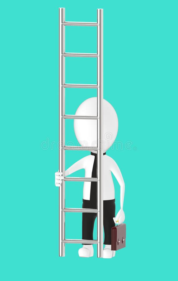 3d white character holding briefcase and standing in front of a ladder - way to climb success concept. Turquoise background- 3d rendering stock illustration