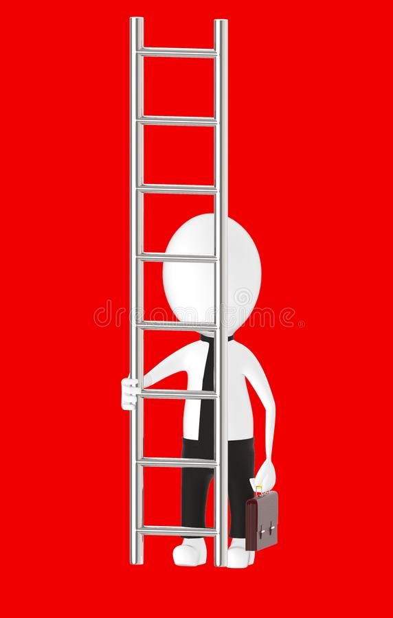 3d white character holding briefcase and standing in front of a ladder - way to climb success concept. Red background- 3d rendering stock illustration