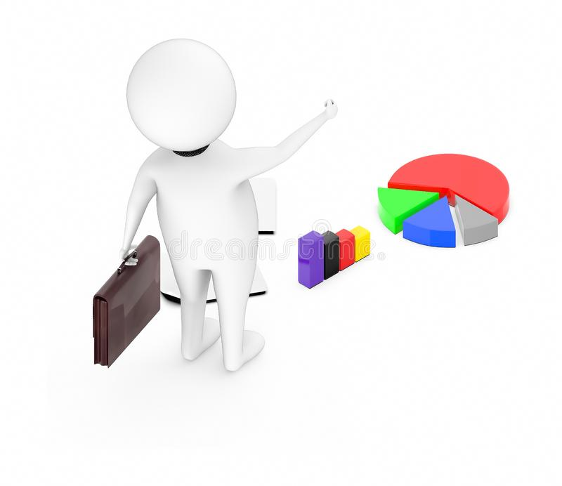3d white character holding a briefcase and standing near to pie chart and bar graph stock illustration