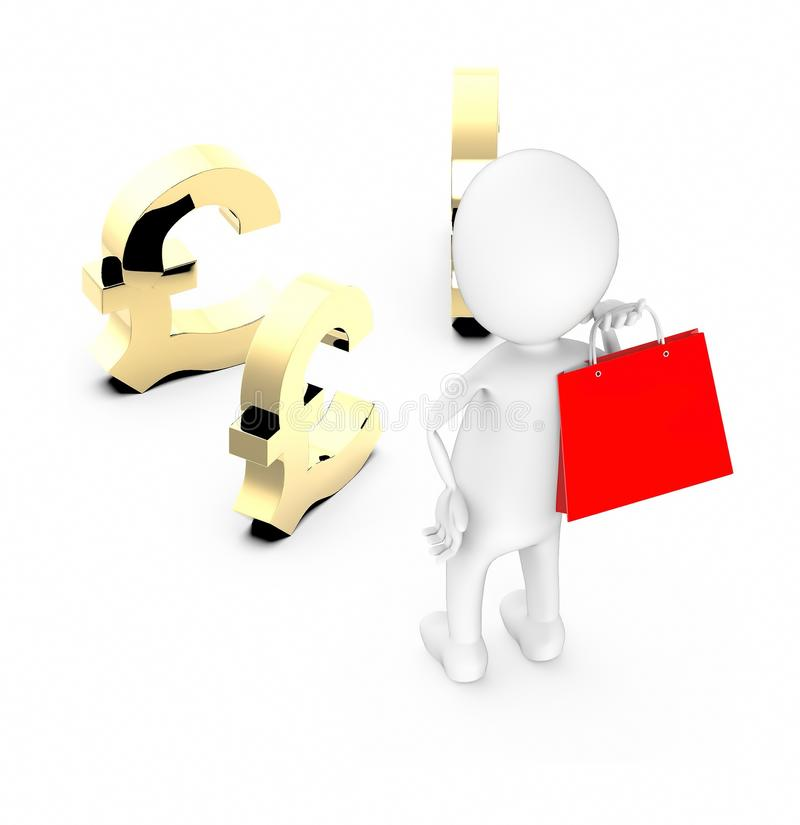 3d white character holding a red shopping bag in his hand and looking at pound sign royalty free illustration