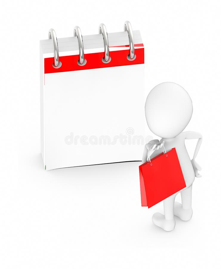 3d white character holding a shopping bag and looking at a empty calender vector illustration