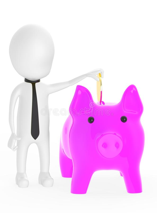 3d white character inserting golden coin to piggy bank royalty free illustration
