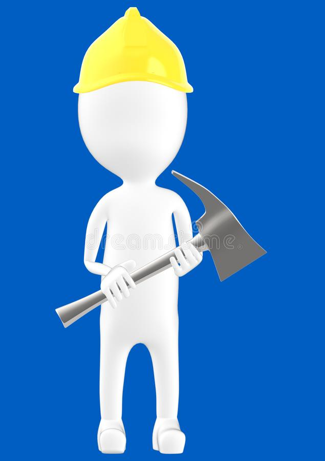 3d white character man wearing safety helmet and holding a axe vector illustration