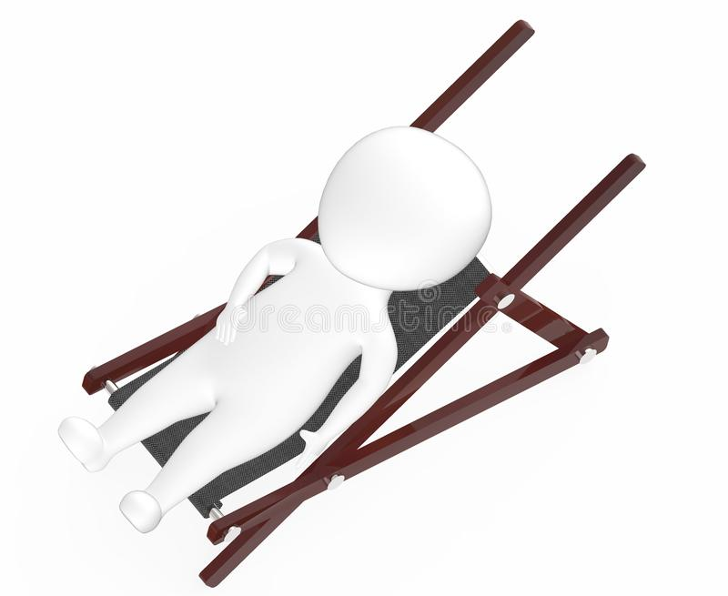 3d white character resting on a furniture. 3d rendering royalty free illustration