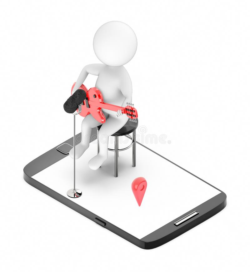 3d white character sitting in a chair playing guitar with a mic on the stand - mobile screen with navigation sign in it royalty free illustration
