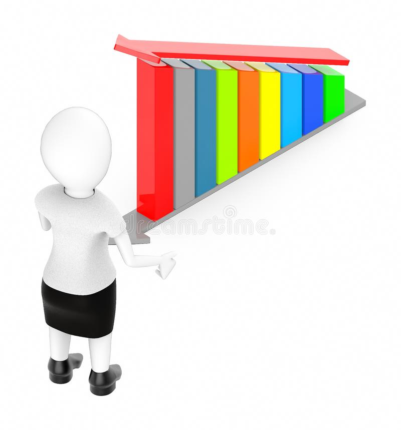 3d white character , standing , hands widened -bar graph and arrow over it. 3d rendering stock illustration