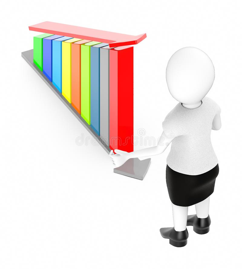 3d white character , standing , hands widened -bar graph and arrow over it. 3d rendering vector illustration