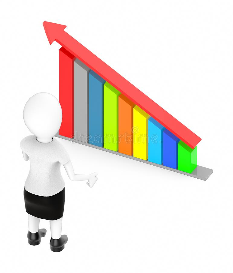 3d white character , standing , hands widened -bar graph and arrow over it. 3d rendering royalty free illustration