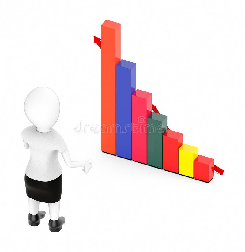 3d white character , standing , hands widened -bar graph and arrow. 3d rendering royalty free illustration