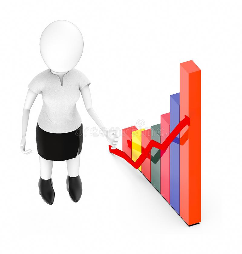 3d white character , standing , hands widened -bar graph and arrow. 3d rendering stock illustration