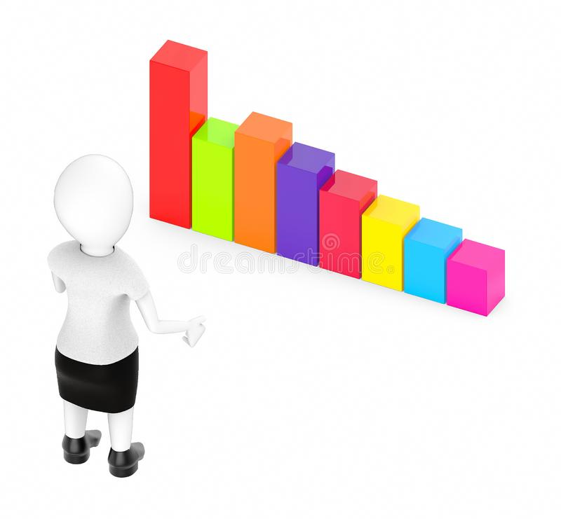 3d white character , standing , hands widened -bar graph. 3d rendering vector illustration