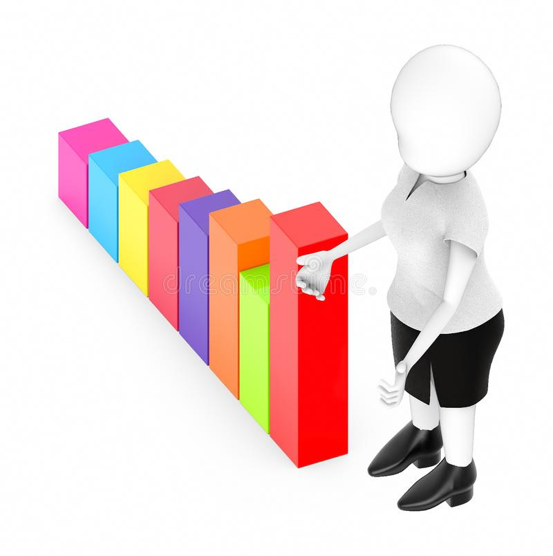 3d white character , standing , hands widened -bar graph. 3d rendering stock illustration