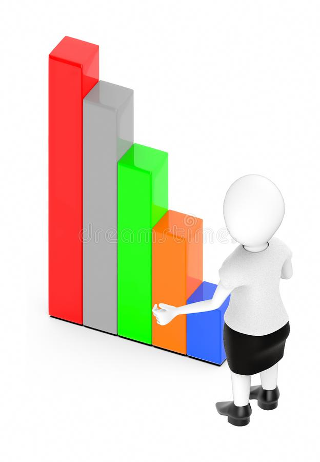 3d white character , standing , hands widened -bar graph. 3d rendering royalty free illustration