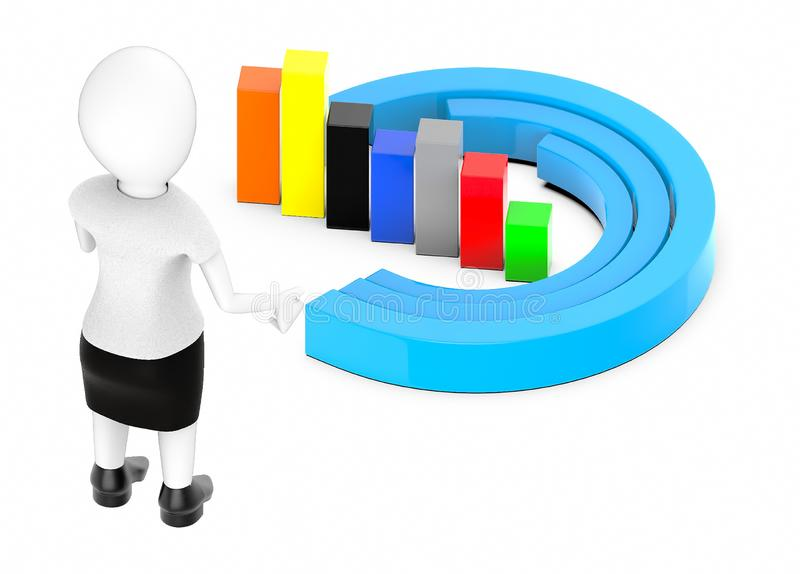 3d white character , standing , hands widened -bar graph and statitics. 3d rendering stock illustration